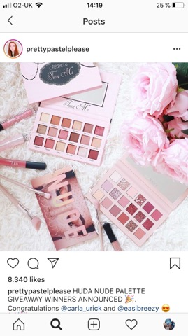 An Instagram post of huda nude palette as a giveaway