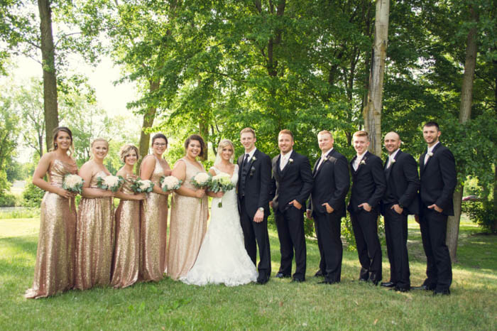 classic bridal party pose, bridesmaids on the left, groomsmen on the right, bride and groom in the middle