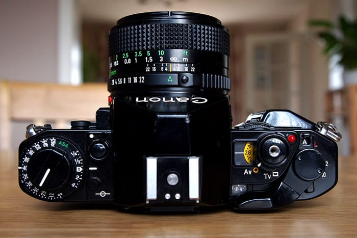 A Canon A1 35mm film camera showing ASA instead of ISO