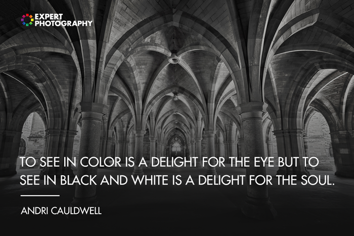 The interior of a stone church overlayed with black and white quotes from Andri Cauldwell
