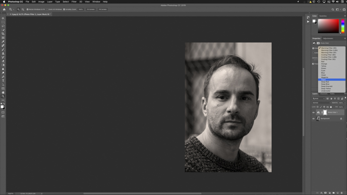 A screenshot of adding a sepia filter in Photoshop