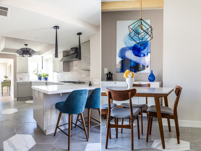 An interior photography diptych of a kitchen and dining room