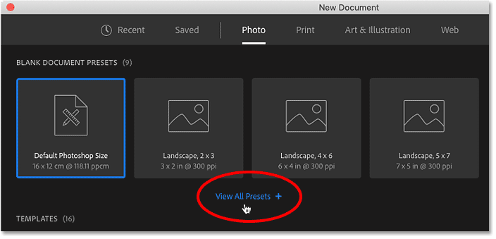 Clicking the View All Presets option in Photoshop