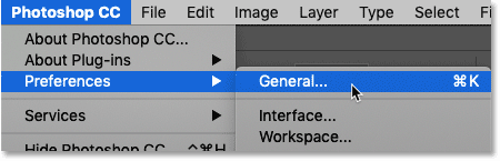 Opening the General Preferences in Photoshop.