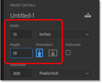 Entering custom width and height values into Photoshop