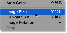 Selecting Image Size in Photoshop.