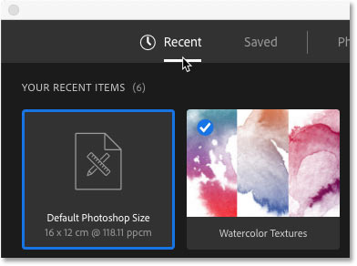 The New Document dialog box opens to the Recent category.