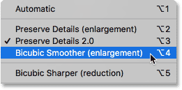 Setting the Resample option to Bicubic Smoother in Photoshop