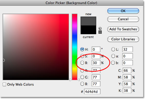Choosing a dark gray in the Color Picker in Photoshop.