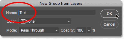 Naming the new layer group