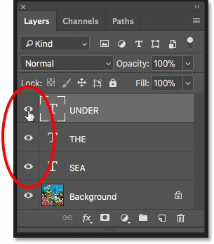 Turning on three Type layers in the Layers panel in Photoshop