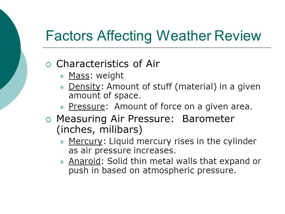 Factors Affecting Weather Review