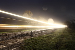 Freight train passing through Gore, New Zealand. The